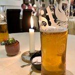 Locally brewed St. Mungo's lager.