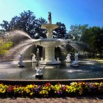 The famous fountain encircled in spring flowers