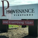 Sign outside the vineyards at Provenance Vineyards in Rutherford.