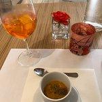 Complimentary pumpkin soup.