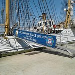 The Barque Eagle docked for a while; Tall ship pride and strong