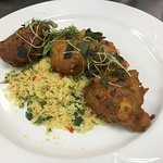 Shiitake Mushroom and Halloumi Cheese Fritters  with Escalivada and Cous Cous