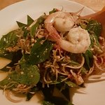 Spicy prawn salad with banana blossom
