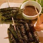 Beef in Berel leaf skewers