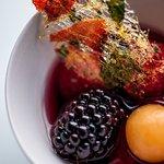 Seasonal fruit soup with mint and basil