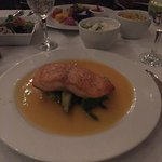 """Salmon drenched in a tropical """"naranja"""" sauce"""