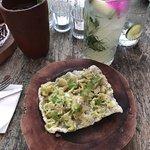 Crispy rice toast with avo