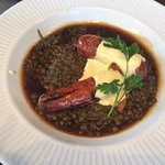 Sausage and puy lentil
