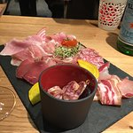 Starter: a plate of charcuterie