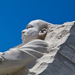 A close-up view of the MLK Memorial