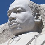A close-up view of the MLK Memorial in D.C.