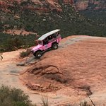 Pink jeep that followed us - wow!