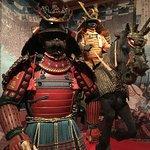 Samurai warriors and horse in armor.
