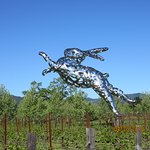 large sculpture in front of the winery