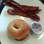 bagel & cream cheese with a side of bacon