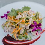 Octopus salad as beautiful as the view