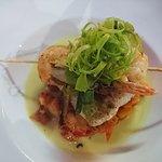 Walu with garlic prawns
