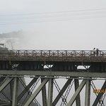 Glittering falls behind the bridge