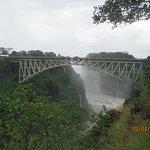 Bridge view with falls behind