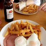 Fish finger wrap and gammon ham, egg and chips.