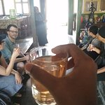 We tasted local traditional drinks and snacks
