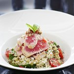 Grilled tuna, spinach and cherry tomato orzo pasta salad
