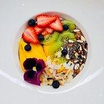 Banana, peanut butter and pure organic açai smoothie bowl