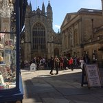 View from Cornish Bakery of Bath Abbey and Roman Baths Entrance