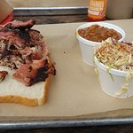 Pulled pork with side of soul slaw and BBQ beans