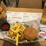 Mexican Burger, fries onion rings