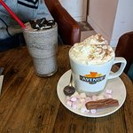 Oreo milkshake and a hot choc