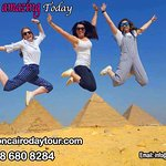 our happy tourists at Giza pyramids