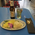 Mango with sticky rice & traditional Singha Thai beer