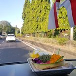 Prayer offerings shared with the car and its passengers. Because it is what earns a living for t