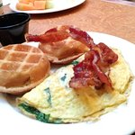 Small omelet, waffles & bacon. Yum!