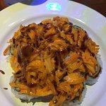 Volcano - crabstick / avocado / cucumber / scallops / eel sauce / spicy mayo / sriracha