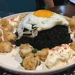 Black ink Fried Rice Sunny Side Up Egg with Crispy Squid