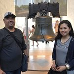 Posing beside the cracked Liberty Bell.