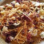 My lunch Tagliatelle, scampi, soppressata & chilli, Auckland Islands scampi & egg dough pasta ri