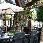 Breakfast buffet with outdoor seating