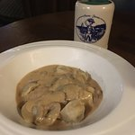 Homemade Dumplings with mushroom sauce/In the pub menu