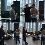 Lincoln City Defender Sean Long having fun on the VR at Lincoln Uni