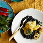 Cod with preserved lemon & squid ink risotto