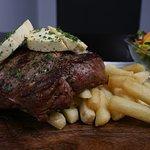 Garlic rib-eye steak