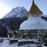 Waking up to snow and this beautiful view of Ama Dablam in Dingbouche