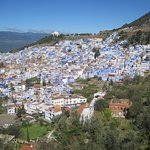 View of Chefchaouen, the blue city perched on a hillside