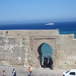 The Mediterranean behind the medina wall in Tangier