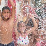 Kids love to play in the spray grounds of Pharaoh's Phortress at Camelbeach