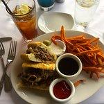 French Dip sandwich & sweet potato fries.