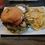 Not your every day BLT with blue chips and salsa... And the most outstanding burger, I've every